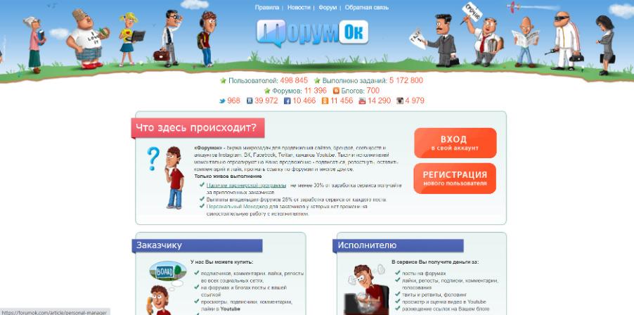 Главная страница биржи ссылок «ФорумОк»