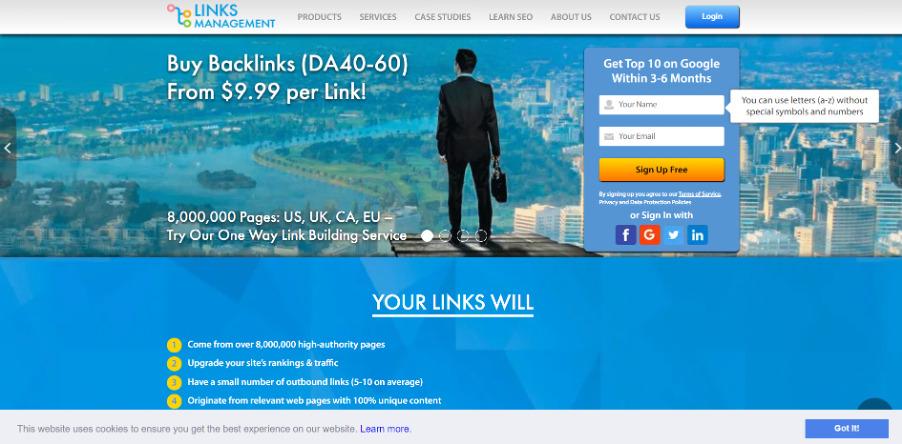 Главная страница биржи ссылок LinksManagement